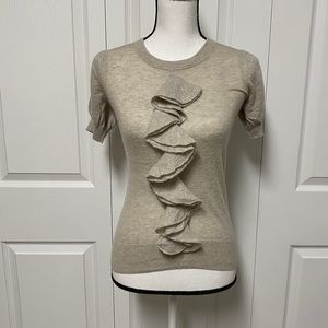 Autumn Cashmere sheer grey top w embelishments